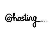 Ghosting Hand Drawn Vector Illustration Lettering Contrast Black White Grey Lettering