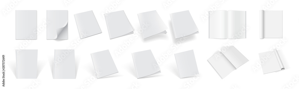 Fototapety, obrazy: set of magazine covers from different sides on a white background  mock up