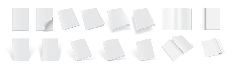 set of magazine covers from different sides on a white background  mock up