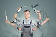 Leinwanddruck Bild - Witziger Handwerker mit vielen Armen
