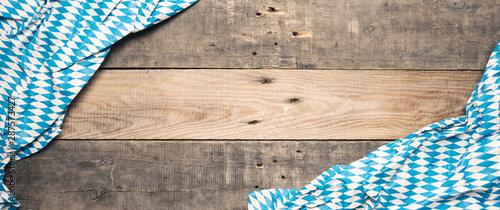Fényképezés Bavarian flag on rustic wood