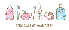 Set Of Cute Objects For Dental Care Isolated On White - Funny Toothpaste, Brush, Apple, Irrigator,  Mirror, Dental Floss And Mouthwash