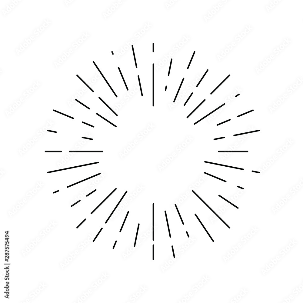 Fototapety, obrazy: Rays linear drawn symbol. Rays grunge backdrop. Sign isolated on white background. Vector illustration