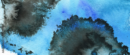 Abstract watercolor brush strokes painted background. Texture paper. Blue tone.