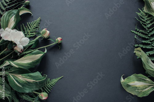 Poster Fleur Peony flower and flower leaf on black background. Flat lay, top view