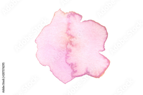 Abstract watercolor and acrylic blot painting. Pink and lilac Color design element. Texture paper. Isolated on white background.