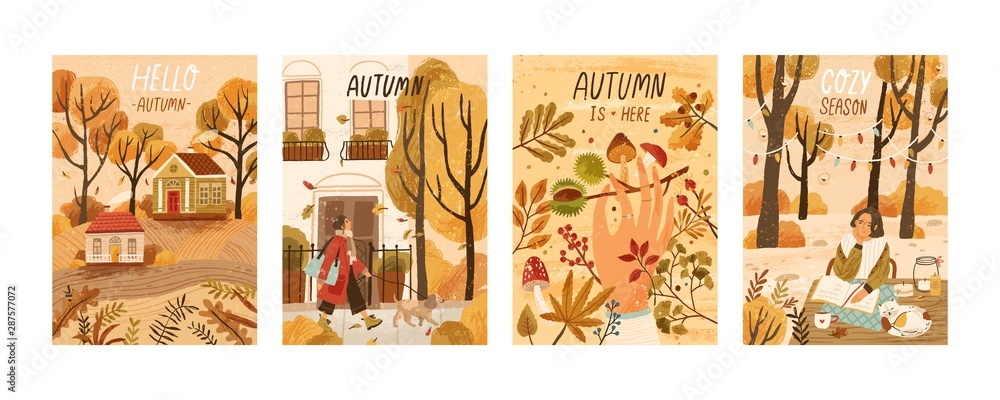 Fototapety, obrazy: Autumn mood hand drawn poster templates set. Fall season nature flat vector illustrations. People enjoying cozy pastime, reading book, gathering mushrooms, chestnuts. Welcoming autumn postcards pack.