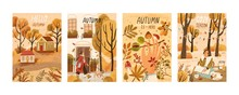 Autumn Mood Hand Drawn Poster Templates Set. Fall Season Nature Flat Vector Illustrations. People Enjoying Cozy Pastime, Reading Book, Gathering Mushrooms, Chestnuts. Welcoming Autumn Postcards Pack.