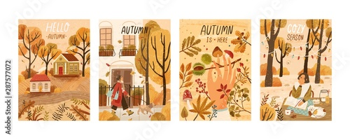 Foto auf Gartenposter Logo Autumn mood hand drawn poster templates set. Fall season nature flat vector illustrations. People enjoying cozy pastime, reading book, gathering mushrooms, chestnuts. Welcoming autumn postcards pack.