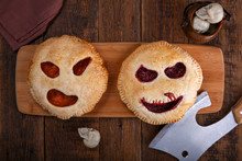 Pies With Carved Scary Faces. ...