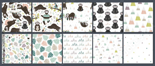 obraz PCV Cute set of sloths seamless patterns