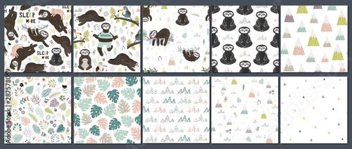 fototapeta na lodówkę Cute set of sloths seamless patterns
