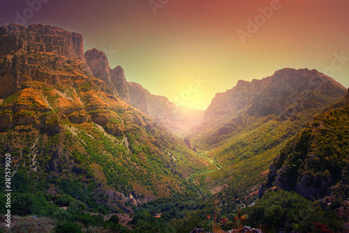 Fotografie, Obraz A breathtaking panoramic view of the Vikos Gorge, listed as the deepest gorge in