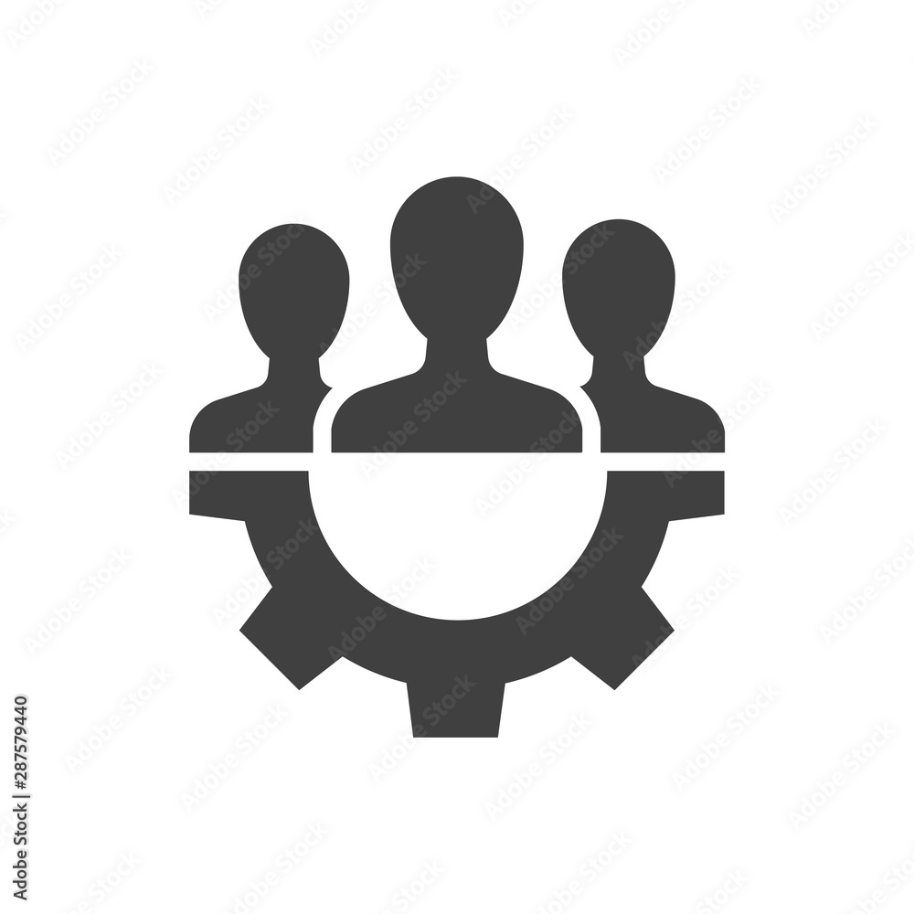 Fototapeta Teamwork management black icon on white background