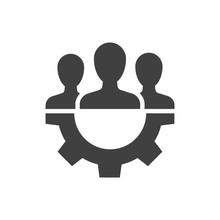 Teamwork Management Black Icon...