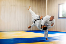 Two Adult Man Practicing Judo ...