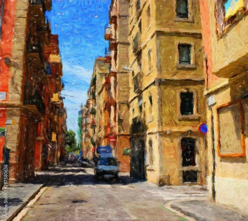 Fototapety, obrazy: Digital realistic oil painting art scene of european building and architecture. Historical famouse touristic city place view. Impressionism large size canvas or paper print, postcard and stationery.