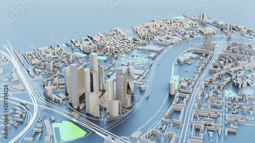 3D illustration. White Futuristic City in sunny day #287584226