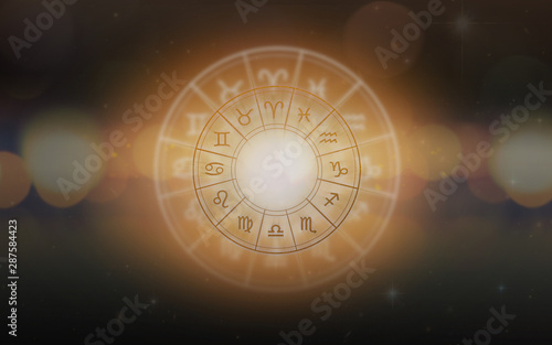 Zodiac sign horoscope astrology for foretell and fortune telling education cours Wallpaper Mural