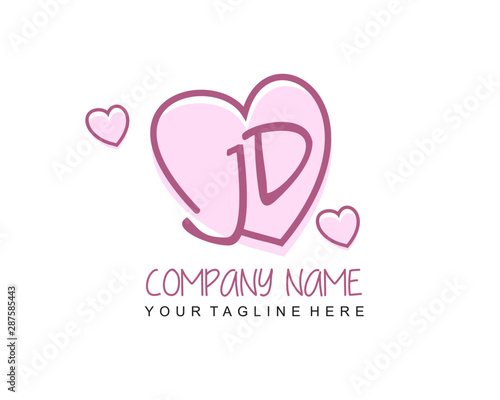 initial jd letter handwriting logo with heart template vector buy this stock vector and explore similar vectors at adobe stock adobe stock initial jd letter handwriting logo with