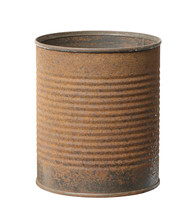 Rusty Can Metal Corrugated Canister (with Clipping Path) Isolated On White Background