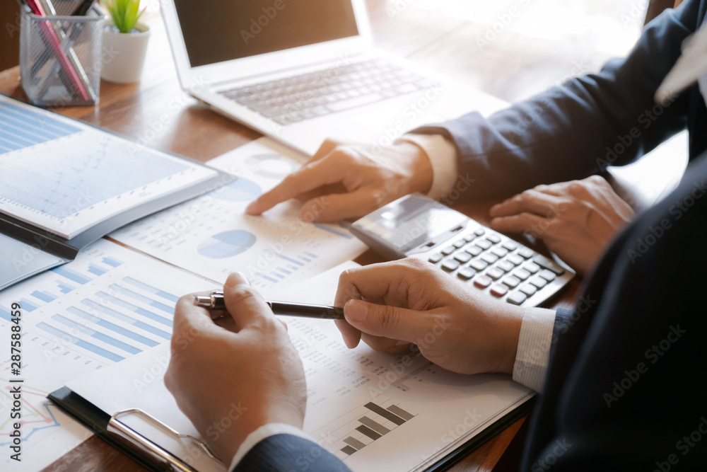 Fototapety, obrazy: business people working in modern office calculating financial in company, problem and solution concept.