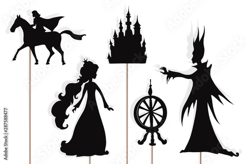 Photo Sleeping Beauty storytelling, isolated shadow puppets.