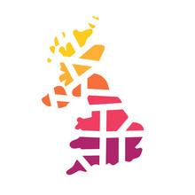 Colorful Geometric United Kingdom Map- Vector Illustration