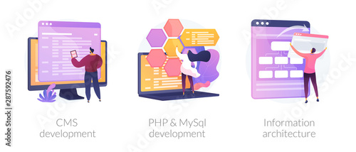 Fototapeta Content management system. Software engineering, database programming. CMS development, PHP & MySql development, information architecture metaphors. Vector isolated concept metaphor illustrations. obraz