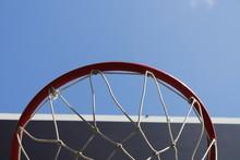 Basketball Hoop On Background Of Blue Sky