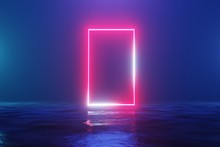 Glowing Neon Red Rectangle, Po...