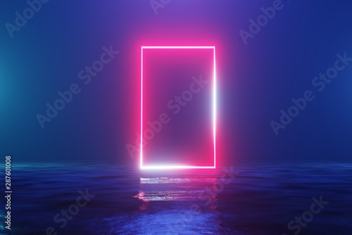 Glowing neon red rectangle, portal, gate Fototapeta