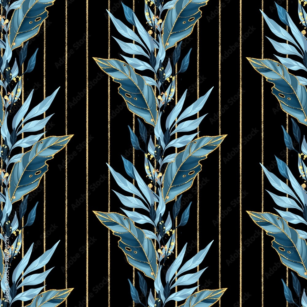 Fototapety, obrazy: Seamless pattern with blue leaves. Background for wrapping paper