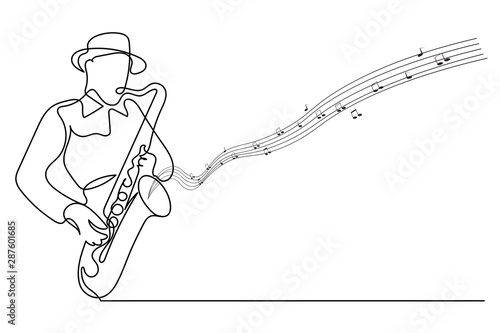 Continuous line Man blowing the trumpet instrument jazz Simple style hand drawn Wallpaper Mural