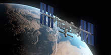 3d Rendered Illustration Of The ISS Infront Of The Earth