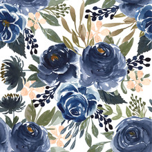 Seamless Pattern Watercolor Fl...