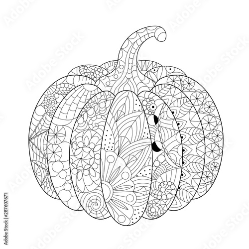 Hand Drawn Pumpkin Decorated With Patterns Zentangle Pattern Antistress Coloring Book For Adults Halloween Decor Vector Buy This Stock Vector And Explore Similar Vectors At Adobe Stock Adobe Stock
