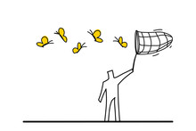 Outdoor Activity Concept. A Man Is Trying To Catch Up Butterflies With A Net.