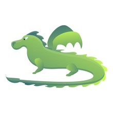 Green Dragon Icon. Cartoon Of Green Dragon Vector Icon For Web Design Isolated On White Background