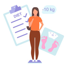 Diet Plan And Result Flat Vector Illustration. Young Woman Controlling Weight Standing On Scales. Slim Girl Happy About Body Mass Loss Isolated Cartoon Character On White Background
