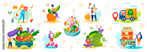 Male and Female Characters Choose Healthy Eco Food Wallpaper Mural