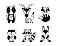 Set Of Forest Animals In The Scandinavian Style For Children. Black-white Vector Illustration