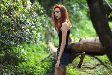 A Skinny Redhead Girl In A Brazilian Forest