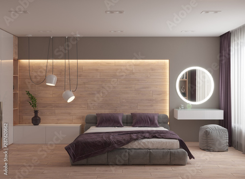 Fotografía  3D visualization of the bedroom interior in a modern style