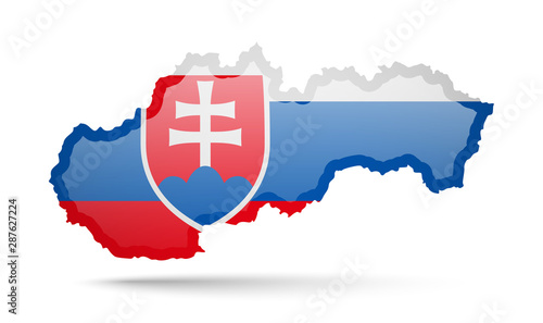 Fototapeta Slovakia flag and outline of the country on a white background