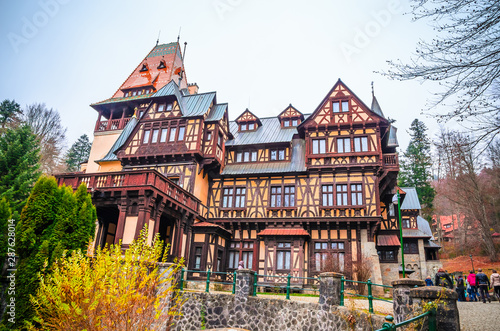 Fotografie, Tablou  Beautiful Pelisor castle in Sinaia, Carpathian Mountains, Romania, Europe