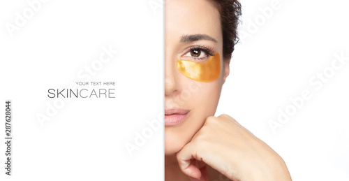 Woman with collagen patch under eye Fototapet