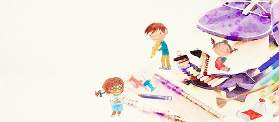 Back to school. Watercolor ...