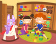 Happy little boy and girl playing in a toy store with their toys as their cute pet rabbit takes a ride on a rocking horse, colorful vector cartoon