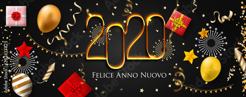 Photo Stands Height scale 2020 New Year Italian greeting card (Felice Anno Nuovo 2020). Italian 2020 New Year Version. Italian 2020 Happy New Year background Version.